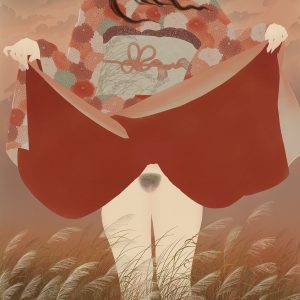 A young Japanese woman lifts up her kimono and reveals the peak of mt. Fuji. An erotic shunga painting by Senju.