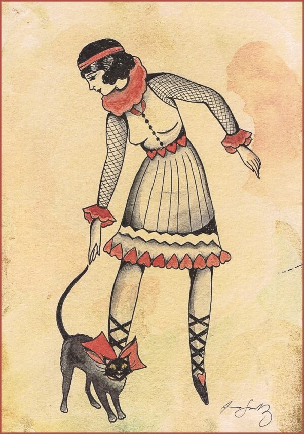A young lady with her fancy cat.