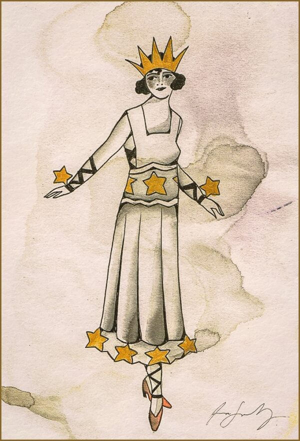 A traditional tattoo flash painting by Anna Sandberg showing the princess of the stars.