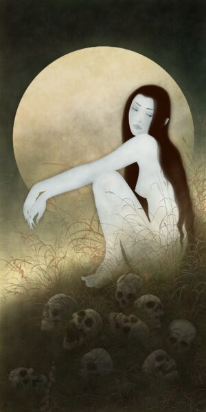 a sensual painting of a female Japanese ghost beneath a full moon