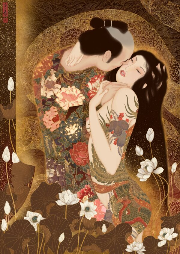 a sensual painting by swedish artist Senju celebrating the art of Gustav Klimt