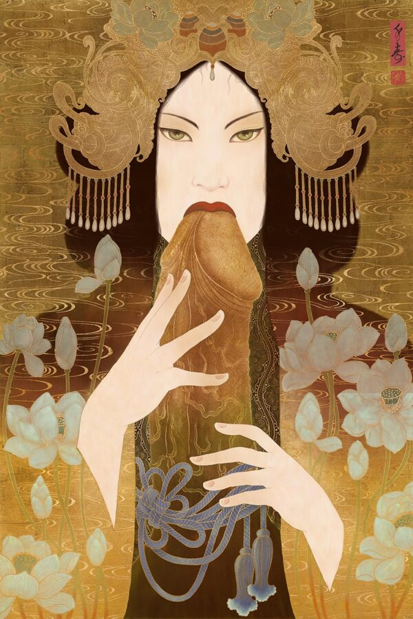 """Seijo"" is a painting by Swedish artist Senju that shows a sensual godess worshipping a giant golden cock."