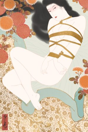 A sensual shunga painting depicting the erotic pleasures of Japanese rope bondage also called Shibari or Kinbaku.