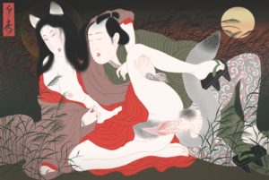 A shunga illustration by Swedish artist Senju showing a teahouse gambler heavily tattooed in traditional Japanese irezumi style making love to a mythical Japanese fox, Kitsune, that has assumed human form.