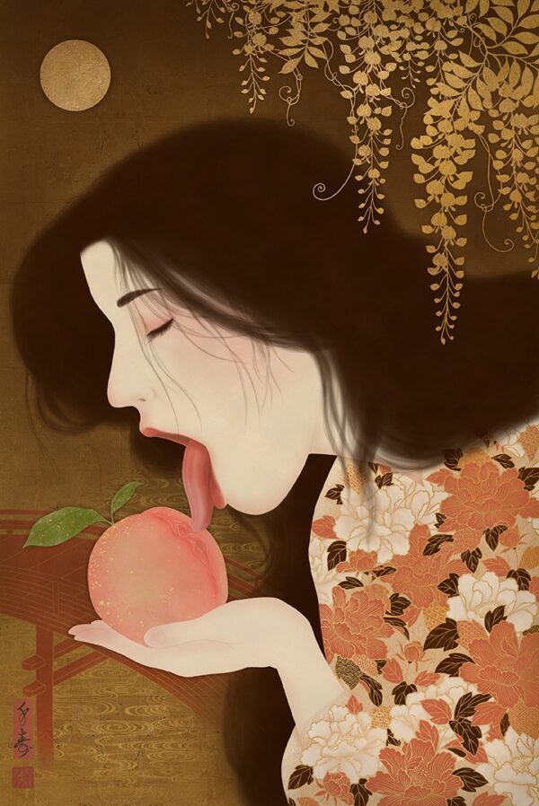 showing a beautiful young woman licking a sweet peach shaped like a vulva.