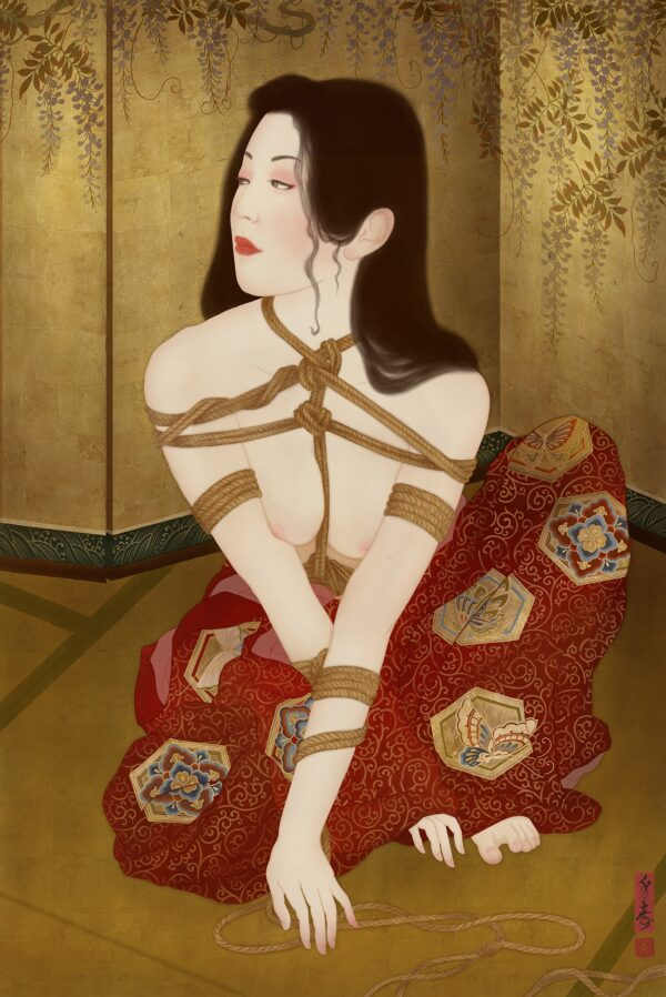 To show an painting of a beautiful Japanese woman tied in rope bondage in the Japanese form of Kinbaku or Shibari.