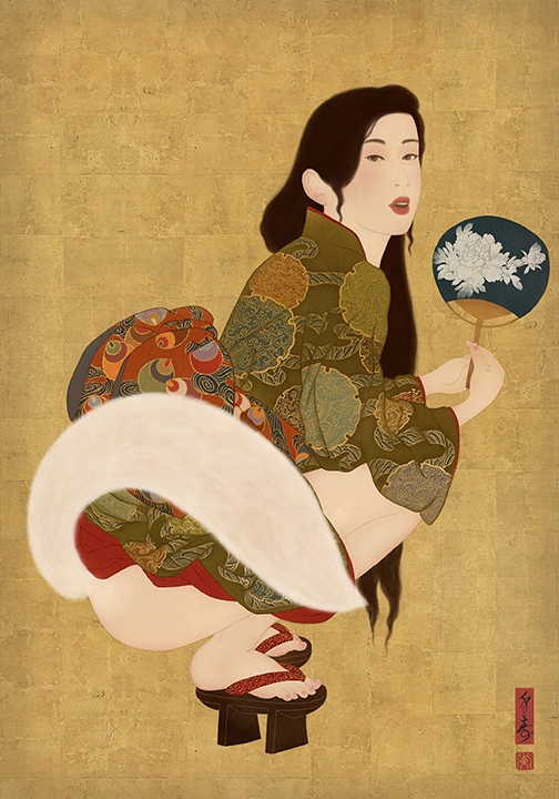 shows a kitsune, the mythical Japanese fox, transforming itself into the shape of a beautiful and sensual young woman.