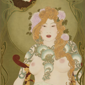 An image that shows the classic theme of Judith and Holofernes in a sensual and erotic way. Inspired by Art Nouveau and Japanese painting.