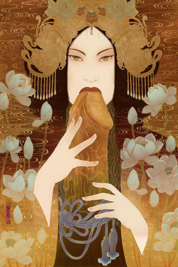 an image that shows a sensual erotic shunga painting by Senju.