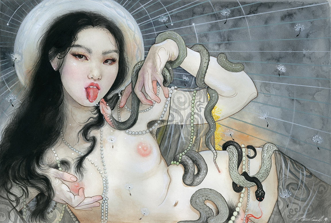 This painting by Senju shows a woman with the tattoo of Aizen Myoo bonji on her hand performing fellatio