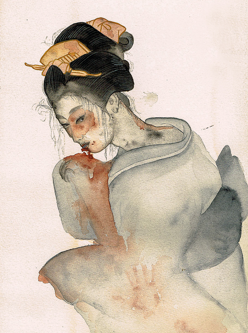 to show a watercolour painting by Anna Sandberg depicting a Japanese female ghost, yurei, stained with blood