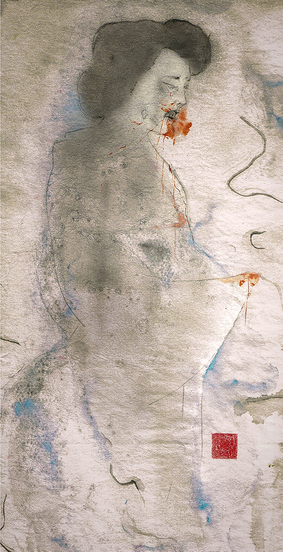 to show a watercolour painting by Swedish female artist Anna Sandberg. The painting depicts the vengeful ghost of a murdered woman.