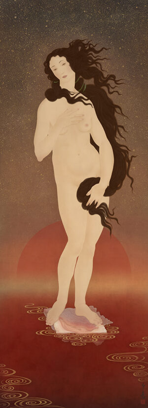 to illustrate a painting by Senju. Botticelli's Birth of Venus in sensual and erotic traditional Japanese Shunga style