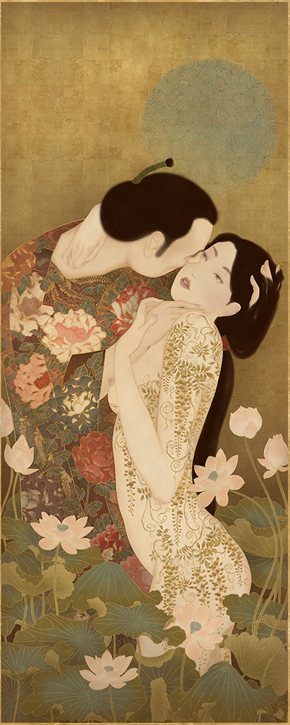 """To show a sensual and erotic painting by Senju paying homage to Gustav Klimt and his immortal painting """"The Kiss"""""""