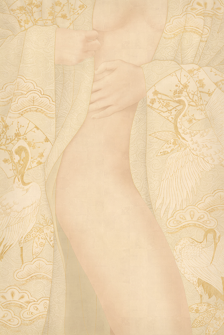 This images shows a sensual shunga painting by Swedish artist Senju. A pale white furisode kimono with New Year's symbols partially drapes a female nude erotic body.
